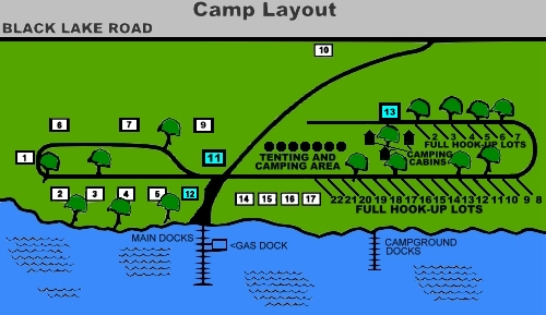 The Layout of McLear's Cottage Colony and Campground, Black Lake, New York
